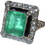 Art Deco Emerald Diamond Platinum Ring Engagement Ring Wedding Ring Onyx Diamond Ring Old Cut