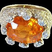 SALE Huge Mandarin Extreme Rare Spessartite Garnet Diamond 18K White Gold Cocktail Ring Fanta