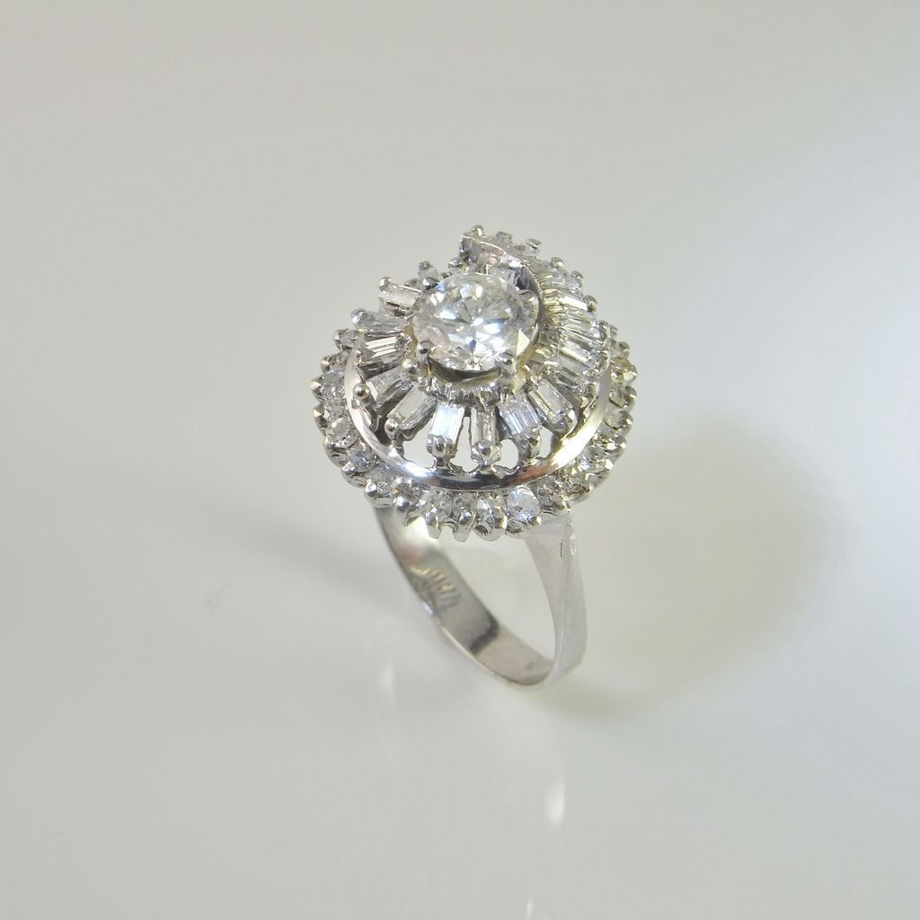 1950s Stunning Diamond 18K White Gold Swirl Design Engagement Ring from thege