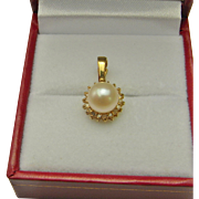 SALE Dainty Vintage Diamond and Pearl 14K Gold Wedding Dress Gift Timeless Classic Pendant