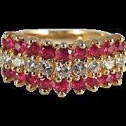Ruby Diamond Ring Ruby Diamond Band Ruby Diamond Engagement Ring Vintage Engagement Ring ...