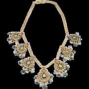 Reversible Antique Rare Mogul Georgian 18th century Diamond Rock Crystal Emerald Natural Pearl