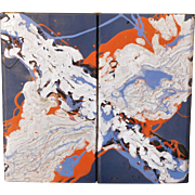 Arthur Gorham (20th c) Diptych Oil on Board Silver Red Blue Untitled Signed on Reverse