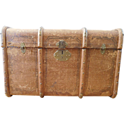 Antique Outer Rib Travel Trunk c. 1930
