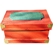 Red Vintage Tool Chest Wooden Handmade with Lift Out Divided Sections, Iron Handles