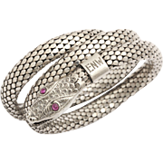Silver Art Deco Serpent Bracelet with Ruby Eyes