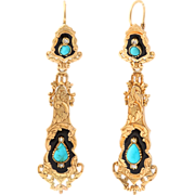 French Enamel, Turquoise and Diamond Chandelier Earrings