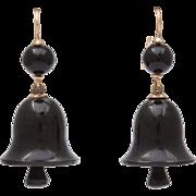 Ring in Victorian Whitby Jet Bell Earrings