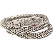 Sterling Silver Art Deco Serpent Bracelet with Ruby Eyes