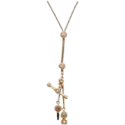 18kt Victorian Slide Chain with Fobs and Key