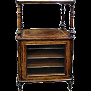 Antique English Victorian Burled Walnut Sheet Music Stand