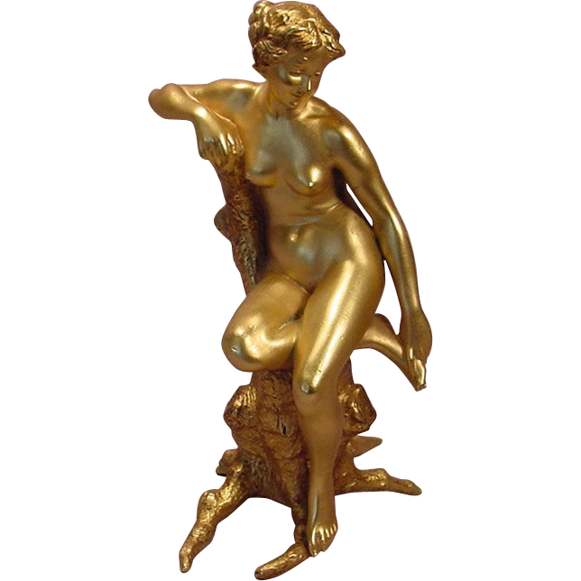 Sherman Bergman Wallpapers Antique Vienna Gilt Bronze Seated Nude Lady Bergman
