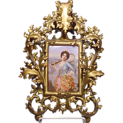 Art Nouveau Painting On Porcelain Plaque Lady & Racket