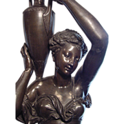 3/4 Life Size Bronze Patinated Torchere A. Carrier