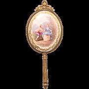 Antique Painting on Porcelain Plaque Set on Bronze Vanity Beveled  Mirror