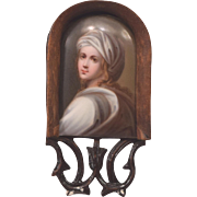 Miniature Painting on Porcelain Plaque Old Master Style Wood Easel Back Frame