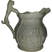 Drab Ware Relief Molded Pitcher
