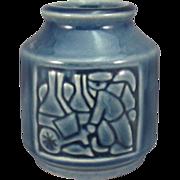 Vintage Michael Andersen & Sons Danish Pottery Vase, Relief Carved, C.1950.