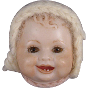 SOLD Baby Doll Face Pin, Porcelain Bisque, Signed Berdine.