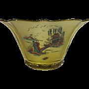 Imperial Glass Satin Sunburst Bowl, Chinoiserie Decoration.
