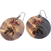 Mother of Pearl Disk Earrings with Hand Painted Floral Design
