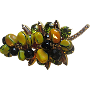 "Juliana DeLizza & Elster Stylized Leaf Brooch W/ Yellow and Green Nugget Beads  Rare""Carm"
