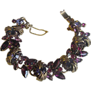 Juliana D&E Book Piece(seen first in 1964) Bracelet w/ metal accents & violet tones
