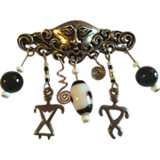 Silver Brooch w/ Dangling Onyx and Glass Beads/ Silver Male and Female Charms