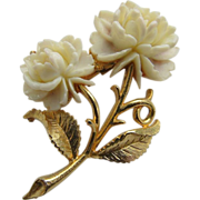 Mamselle Signed Gold Tone Brooch w/ White Lucite Carved Roses