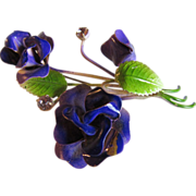 Austria Made Purple Enamel Flower Brooch and Earring Set with Austrian Crystal Rhinestones