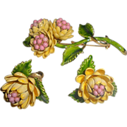 Vintage Enameled Flower Brooch and Earring Set