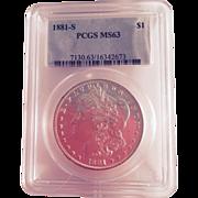 1881-S Morgan Silver Dollar PCGS MS63