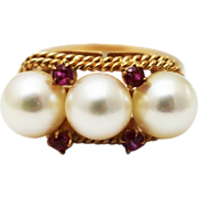 SALE 14KT Gold Cultured Akoya Pearls and Natural Ruby Ring