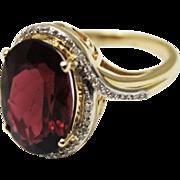 SALE 6.4 CT Priceless Natural Rubellite Pink Tourmaline Diamond Ring 14KT Gold