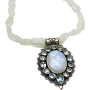 SALE Natural Rainbow Moonstone Blue Topaz Handmade Sterling Silver Necklace