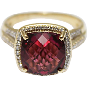 SALE 4.25 CT Priceless Natural Rubellite Pink Tourmaline Diamond Ring 14KT Gold