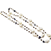 SALE Natural Geometric Iolite, Smokey Quartz, Cultured Baroque Freshwater Pearls Handmade 14KT
