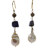 SALE Handmade Natural Iolite, Smokey Quartz and Cultured Baroque Freshwater Pearl Earrings 14K