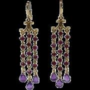 SALE Handmade Natural Rhodolite Garnet and Amethyst Chandelier Earrings 14KT Gold
