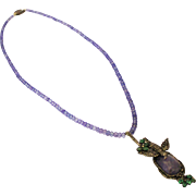 SALE Natural Tanzanite, Old Mine Diamond, Emerald 18KT Gold & Sterling Silver Necklace