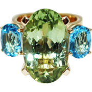 SALE Natural Apple Green Chrome Tourmaline and Swiss Blue Topaz Custom Made Ring in 18KT ...