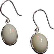SALE Stunning Hand Set Natural Ethiopian Opal Earrings in 14KT White Gold