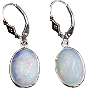 SALE Stunning Hand Set Natural Ethiopian Opal Diamond Earrings in 14KT White Gold