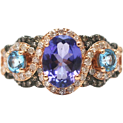 SALE Natural Tanzanite, Swiss Blue Topaz, White and Chocolate Diamond Ring in 14KT Rose Gold