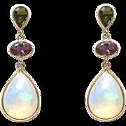 SALE Handmade Rare Natural Ethiopian Opal, Green and Purple Tourmaline Earrings 14KT Gold