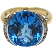 SALE Natural Stunning Swiss Blue Topaz and Diamond Ring in 14 KT Gold