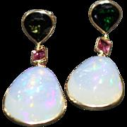 SALE Handmade Rare Natural Ethiopian Opal, Green Chrome and Pink Tourmaline Earrings 14KT Gold