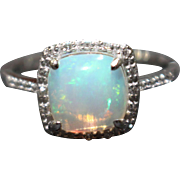 SALE Natural Austrian Opal and Diamond Ring in 14KT White Gold