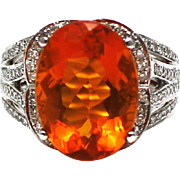 SALE 6 CT Natural Mexican Fire Opal and Diamond Ring in 14KT White Gold