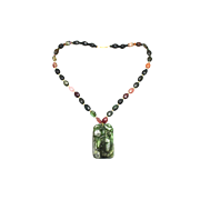 SALE Natural Hand Carved Multi-Color Watermelon Tourmaline Necklace 18KT Gold